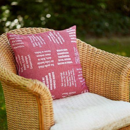 Kissen | gewebte LIEBE | verum textilia